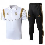 Polo Real Madrid Ensemble Complet 2019-2020 Noir Blanc Or
